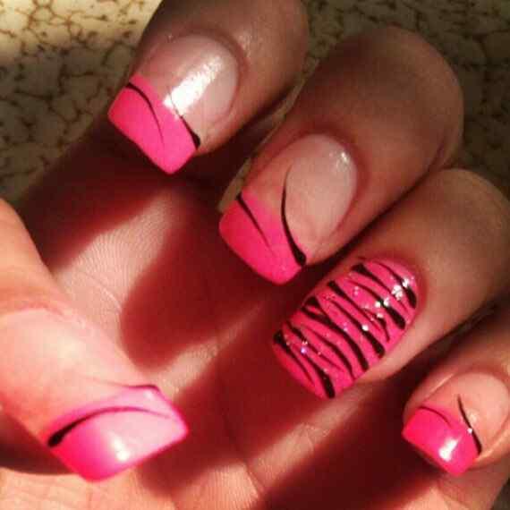 Pink nails unas color rosa (72)