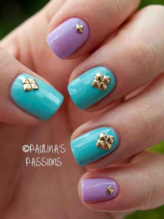 Unas celeste  - light blue nails (10)