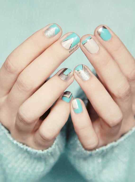 Unas celeste  - light blue nails (37)