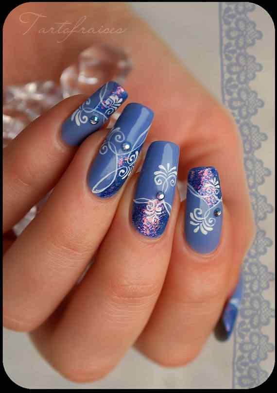 Unas celeste  - light blue nails (52)
