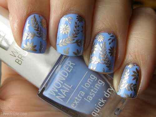 Unas celeste  - light blue nails (53)