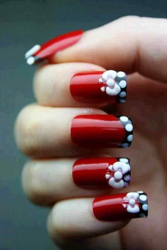 Unas color rojo - red nails art (13)