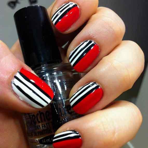 Unas color rojo - red nails art (17)