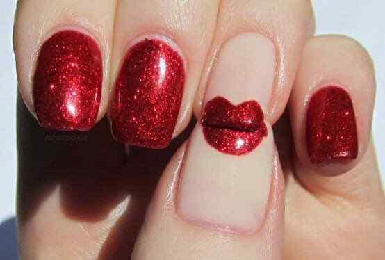 Unas color rojo - red nails art (2)