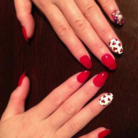 Unas color rojo - red nails art (33)