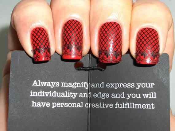 Unas color rojo - red nails art (4)