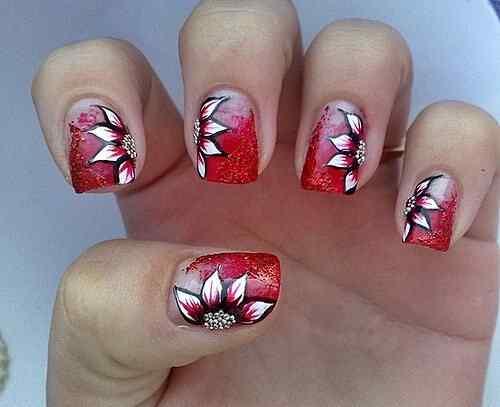 Unas color rojo - red nails art (42)