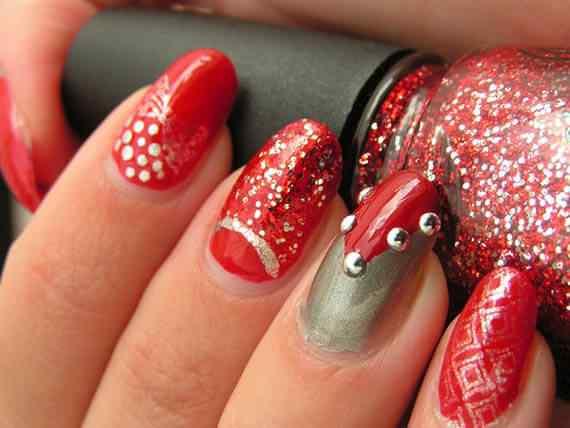 Unas color rojo - red nails art (43)