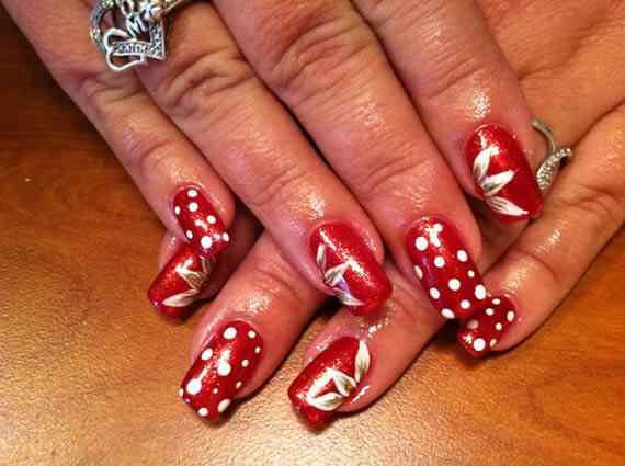 Unas color rojo - red nails art (50)
