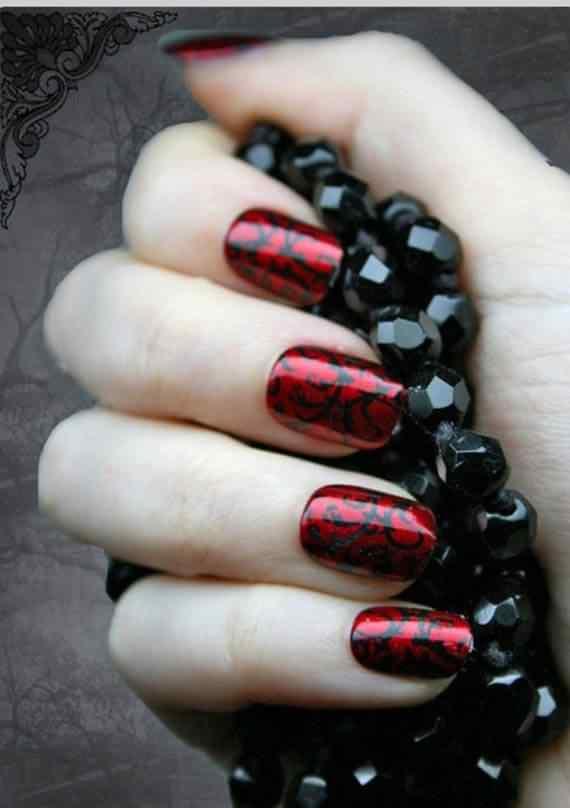 Unas color rojo - red nails art (51)