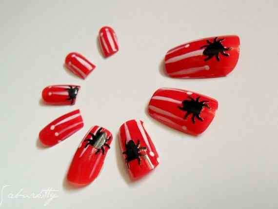Unas color rojo - red nails art (53)
