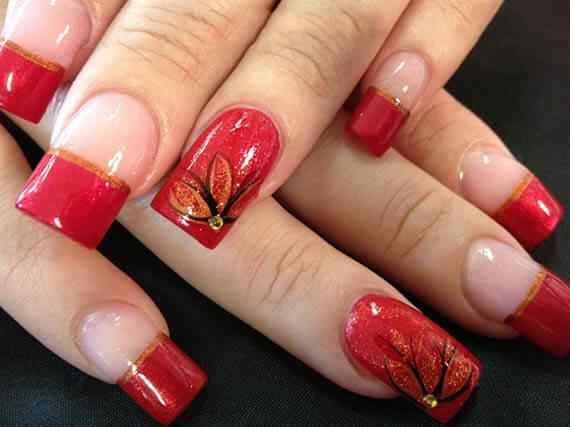 Unas color rojo - red nails art (60)