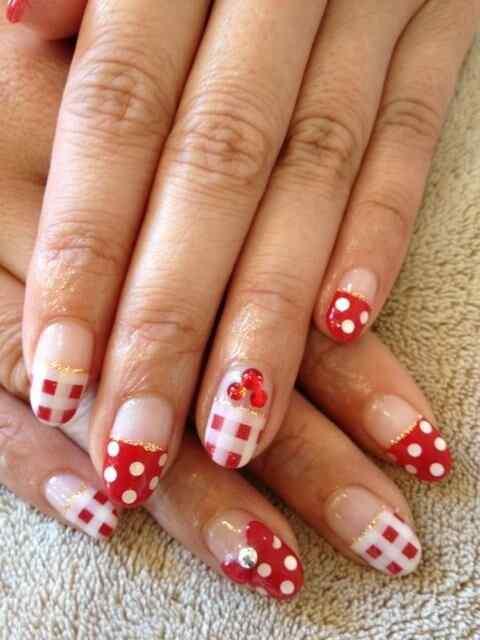 Unas color rojo - red nails art (61)