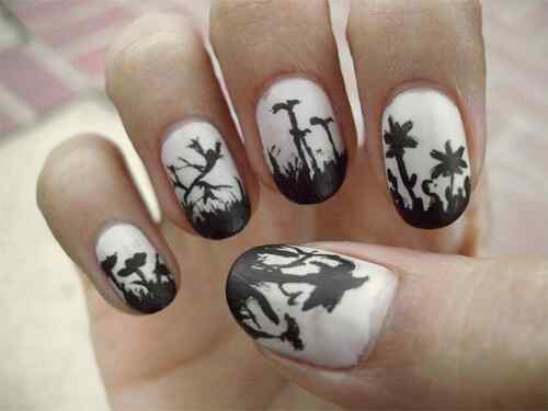 Withe-and-Dark-Black-Nail-Design-Combination-fopr-Nice-Women