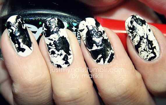 nailartlove-black-and-white-splatter-nails