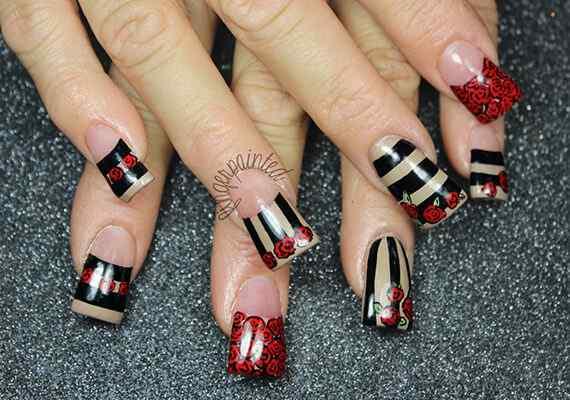 stripes-roses-nails