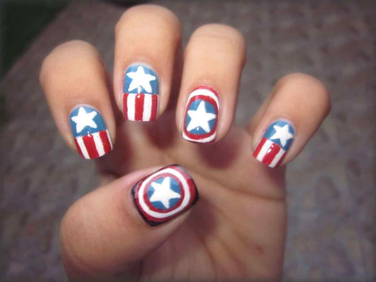 Nailart captain america