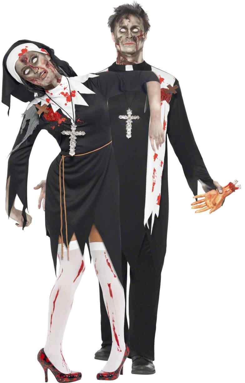 Disfraces halloween parejas cura monja zombie
