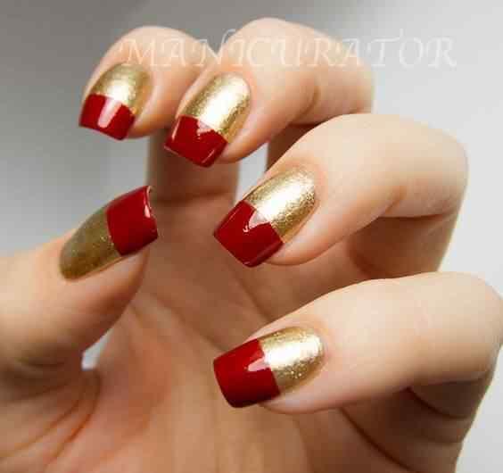 unas pintadas rojo y dorado (6)