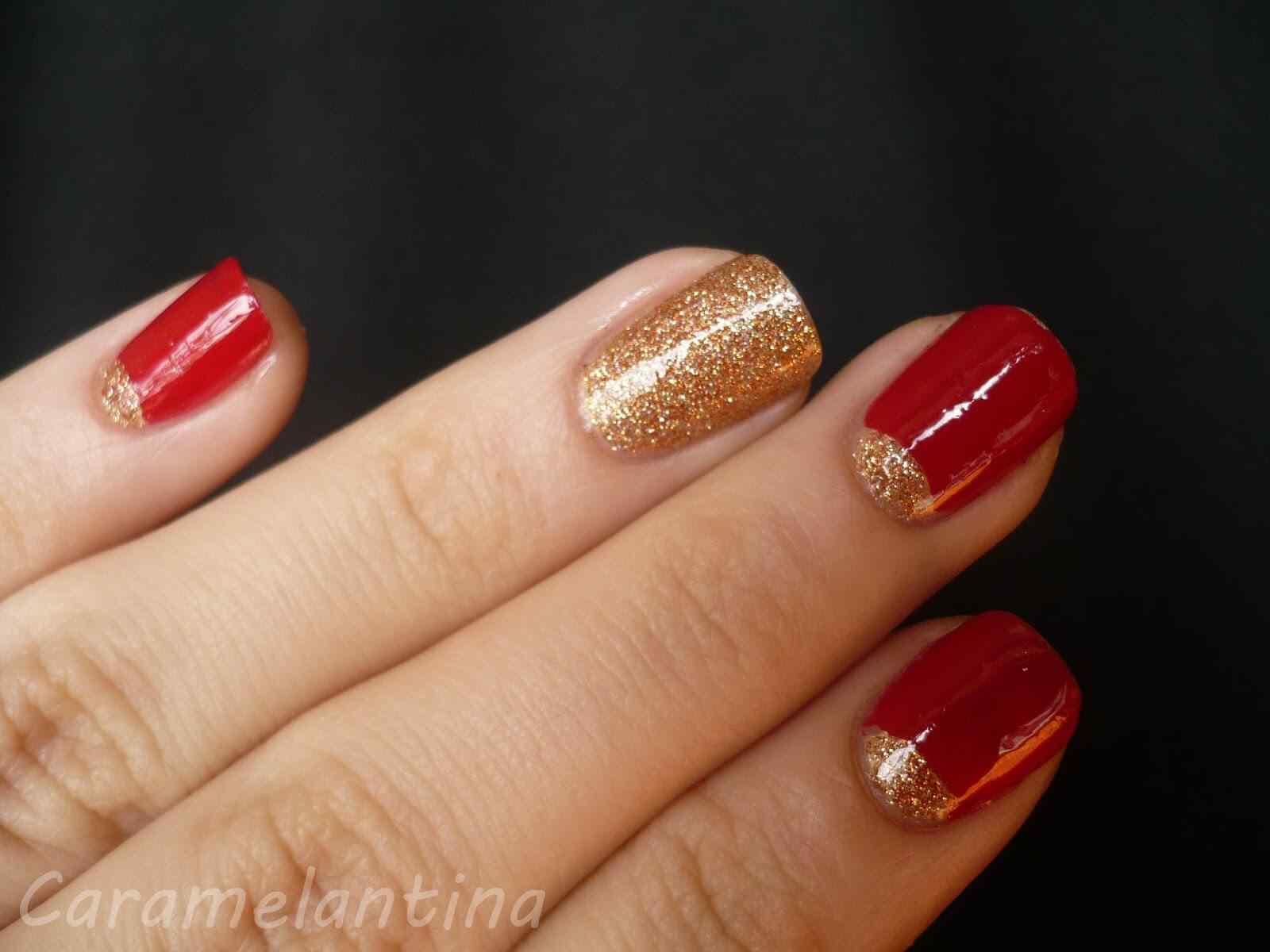 unas rojo con dorado (5)