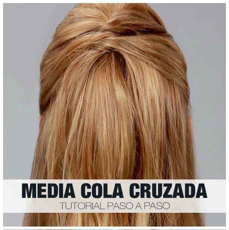 Media cola cruzada - Peinados facil paso a paso