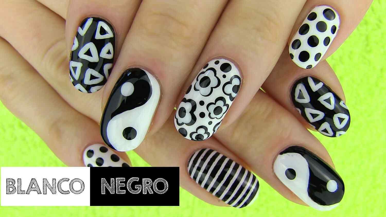 Uñas decoradas en blanco y negro - Monocromáticas - Nail art Diy