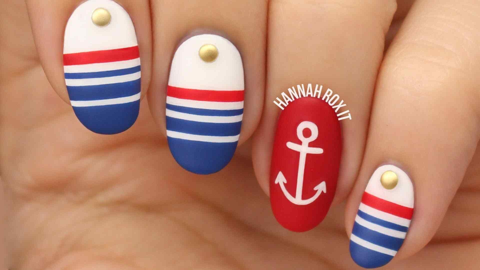 Diseño de uñas náuticas o marineras