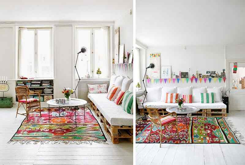 casas decoradas con alfombras