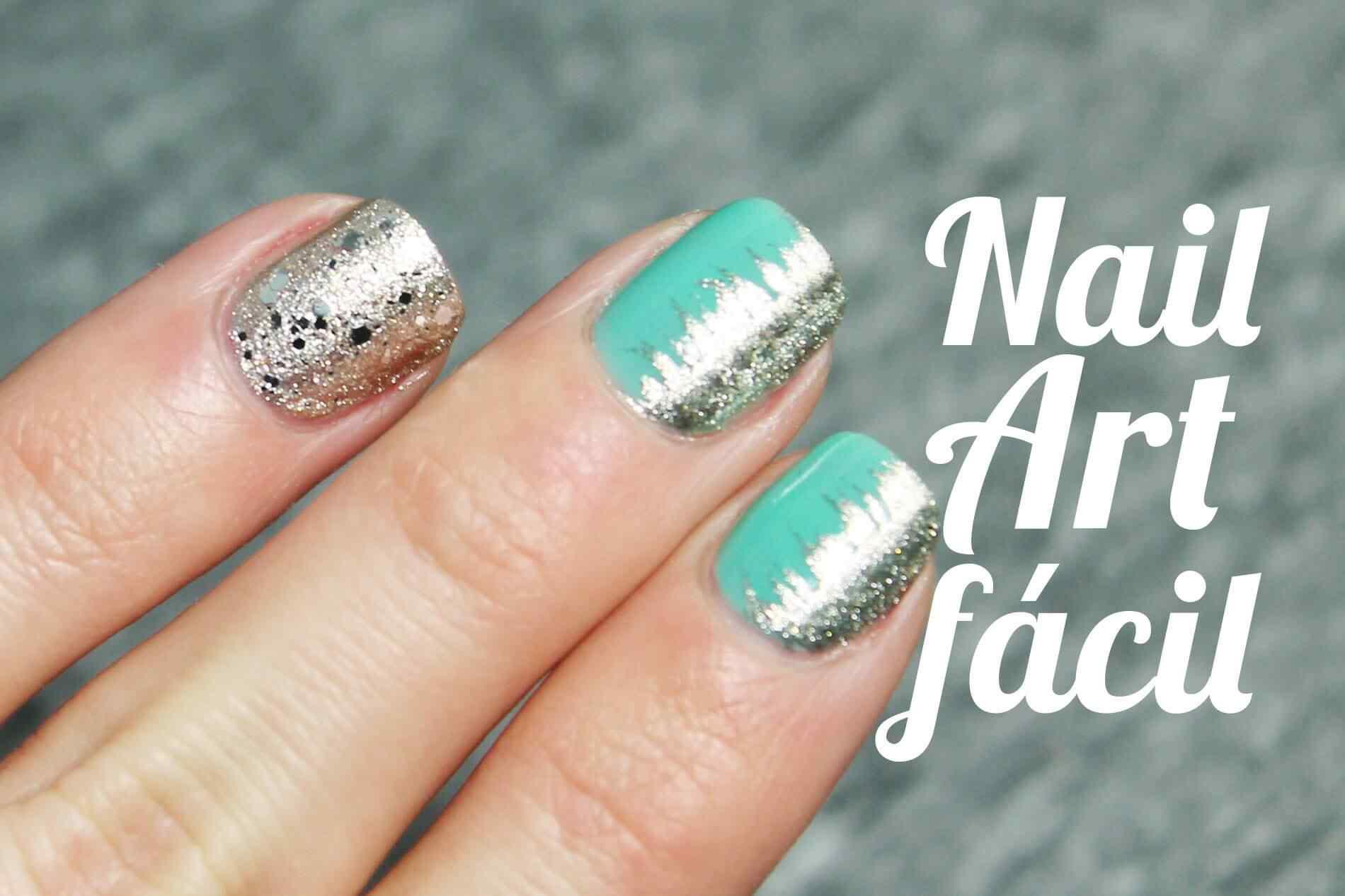 Diseño de uñas verde y plateado paso a paso