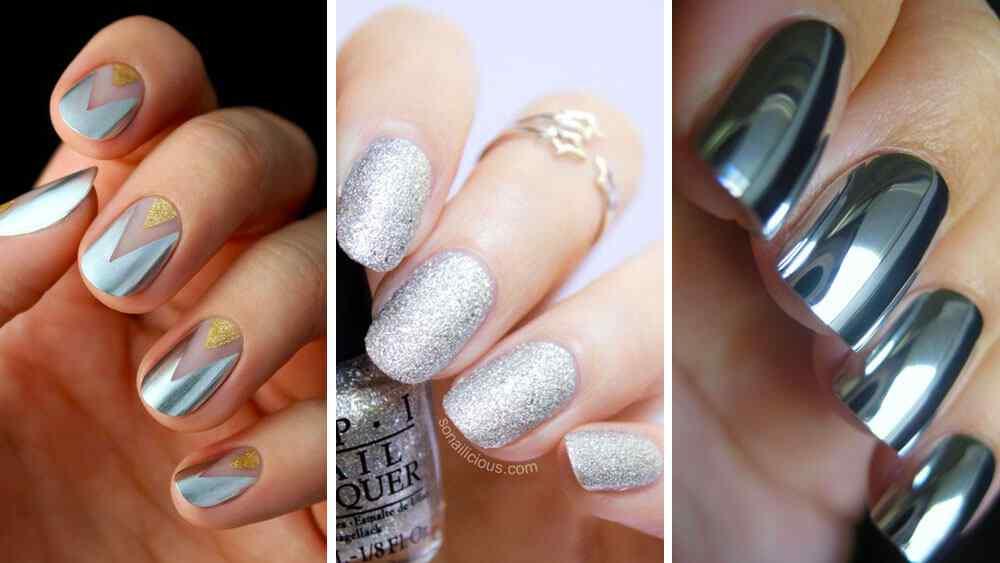 diseños de uñas color plateado silver nailart