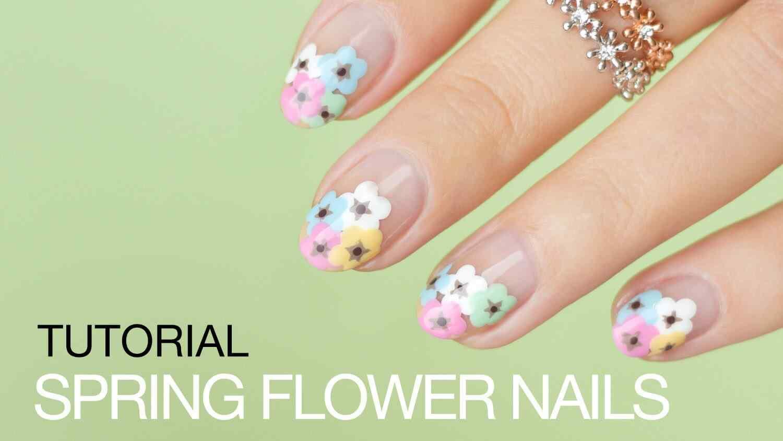 Uñas primaverales con flores - Tutorial paso a paso