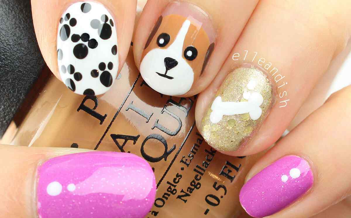 Uñas decoradas con perritos - Puppy dog Nail art