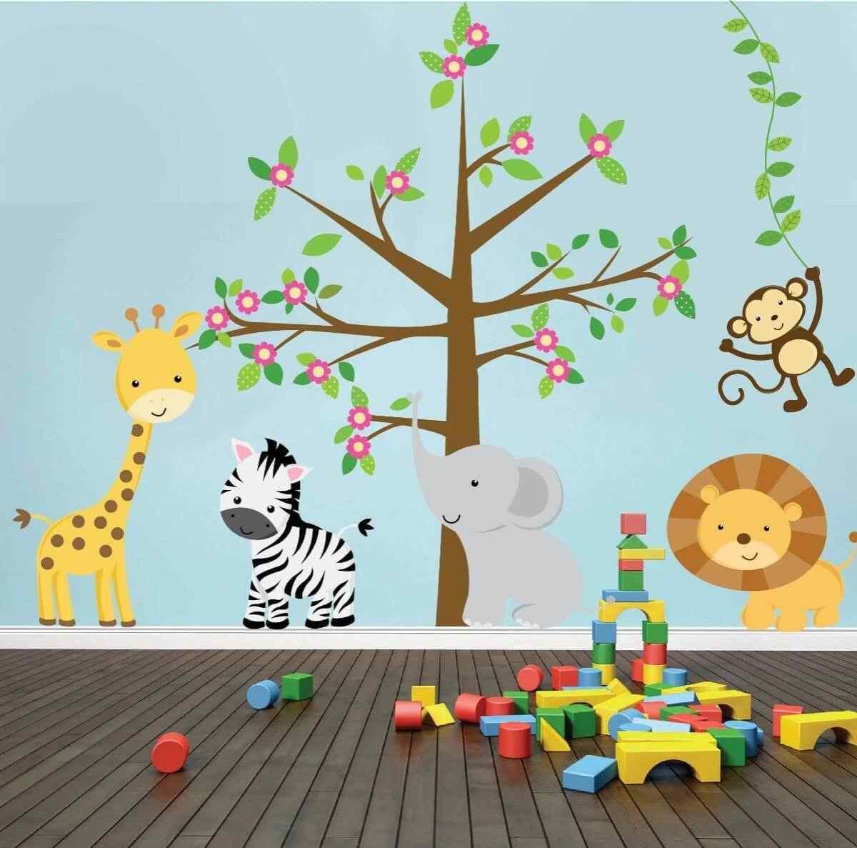 vinilos decorativos infantiles animales y arboles