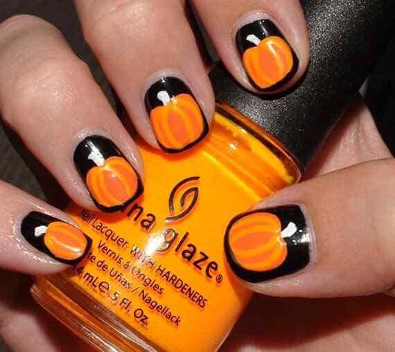 Nails art - orange (1)