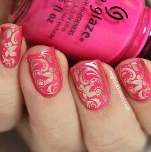 Pink nails unas color rosa (76)