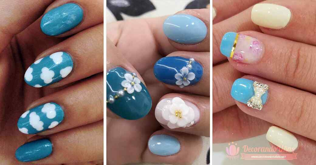 Diseños de uñas decoradas en color celeste + de 50 Ideas