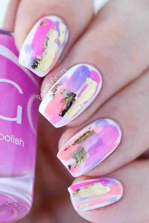 uñas decoradas color rosa