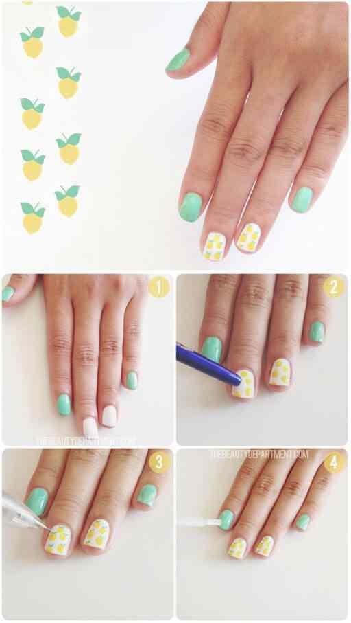Como pintar limones en las uñas - Paso a paso