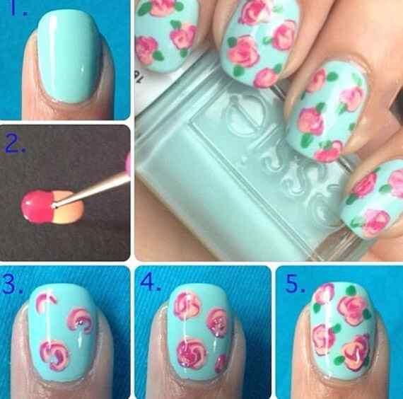 Decoración de uñas con rosas