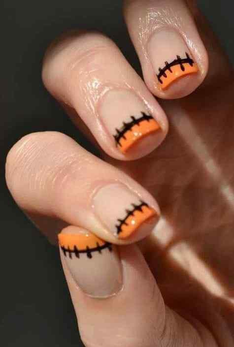 uñas francesas naranja para halloween