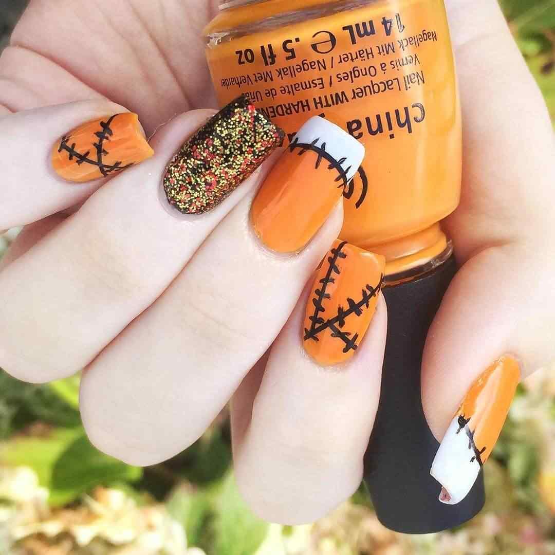 uñas naranja para halloween