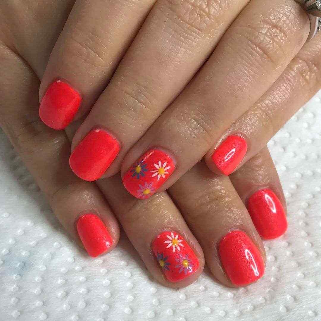 uñas naranja para jovencitas