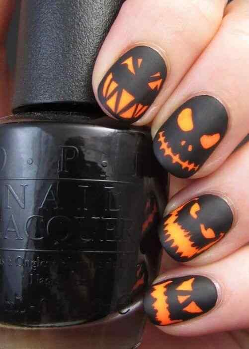 uñas para halloween naranja y negro
