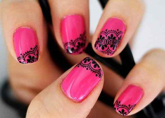 Pink nails unas color rosa (128)