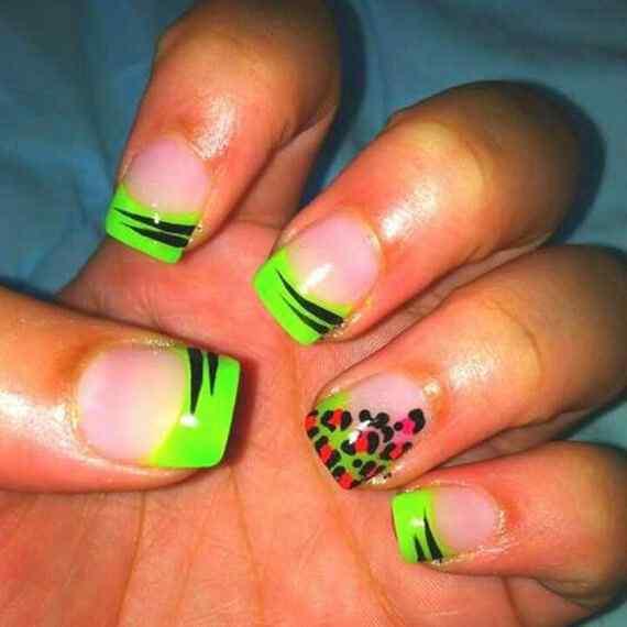 Fotos decoracion de uñas color verde