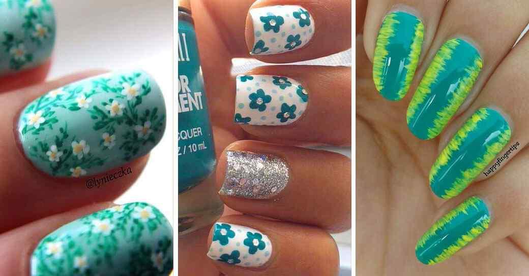 Diseños de uñas color verde