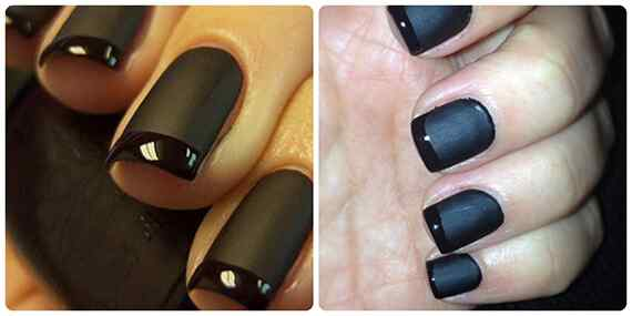 matte-nail-polish-glossy-tips-black