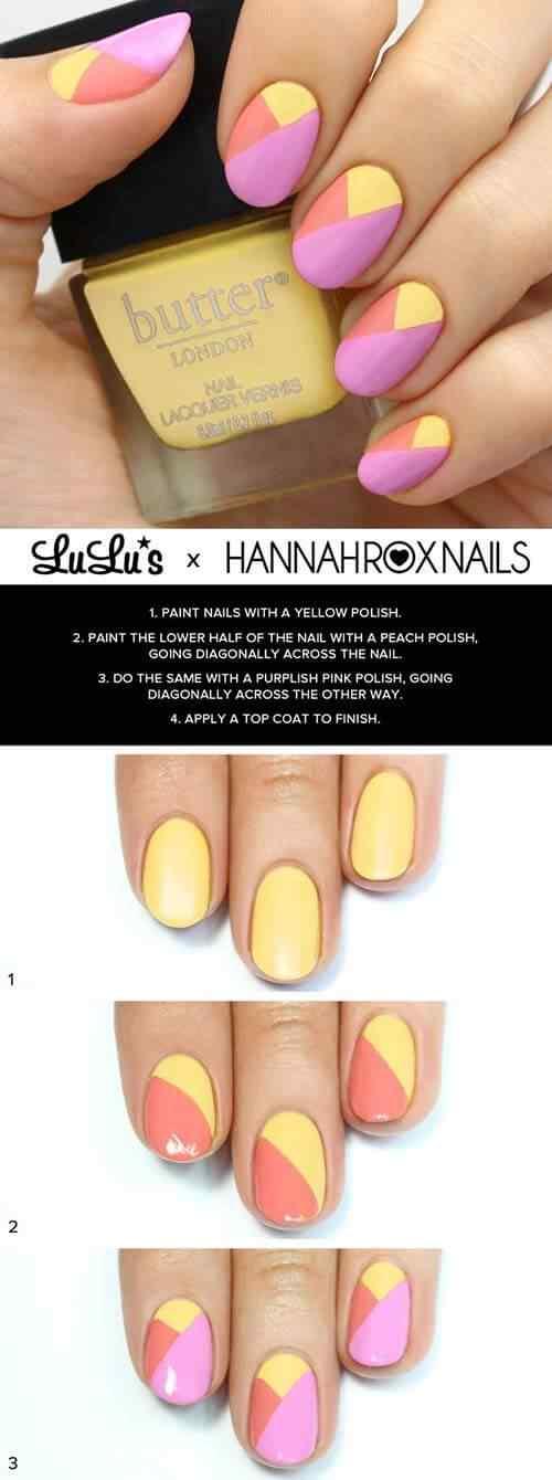 tutorial de uñas amarillas con rosa