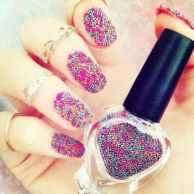 uñas caviar de colores