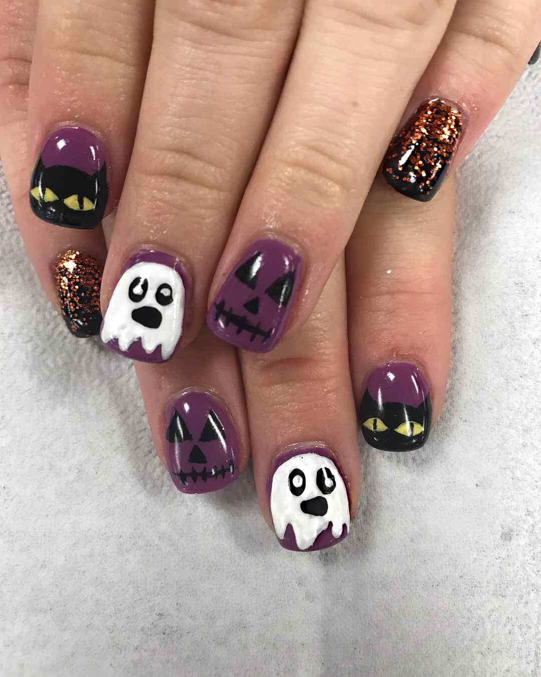 uñas con fantasmas halloween 2017